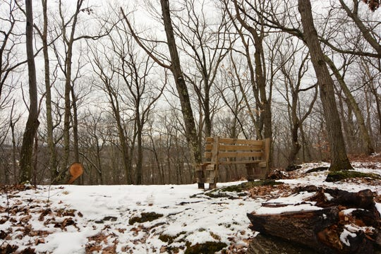 One of the strategically placed benches along the red trail at James Baird State Park.