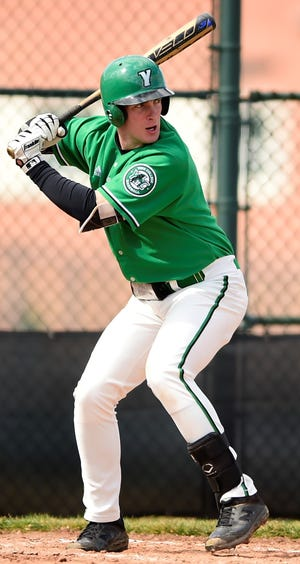 Dallastown High School graduate Brandon White, seen here in a file photo, came up with a clutch two-out, ninth-inning triple on Wednesday to help the Spartans to an 8-7 victory over Messiah.