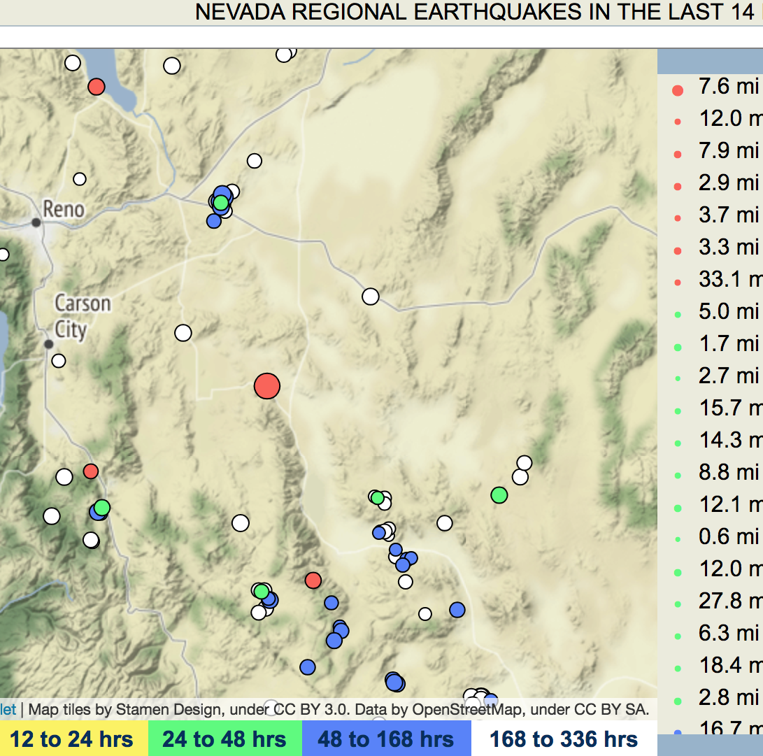 USGS: Magnitude 3.6 earthquake struck about 14 miles from Yerington this morning