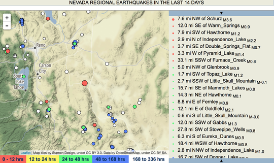 A map of recent earthquakes in Nevada from the Nevada Seismological Laboratory's website. The large red dot in the center is a magnitude 3.6 quake recorded at about 7:43 a.m. near Yerington on April 1, 2018.