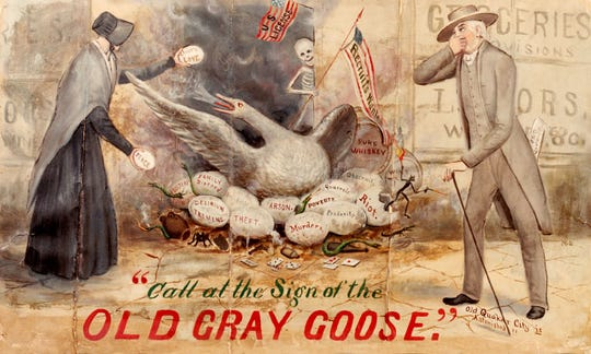 """Call at the Sign of the Old Gray Goose'"" is a painting by nationally known Quaker artist Marcus Mote, completed in 1875 after rambunctious local church women protested against alcohol sales. The painting, on display at the Wayne County Historical Museum, is a symbolic exaggeration of Englisman Alfred Tullidge's grocery - now the middle room at Little Sheba's on Fort Wayne Avenue - where beer at the time was sold by the bucket and jug. Richmond in 1874 was a national flashpoint in the longest sustained mass protest by females in the 19th century."