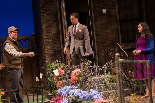 Paul DeBoy, Erick González and Monica Rae Summer Gonzalez in Geva's production of Native Gardens.