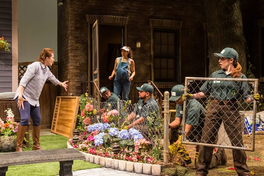 Anne-Marie Cusson, Monica Rae Summer Gonzalez and gardeners in Geva's production of Native Gardens.