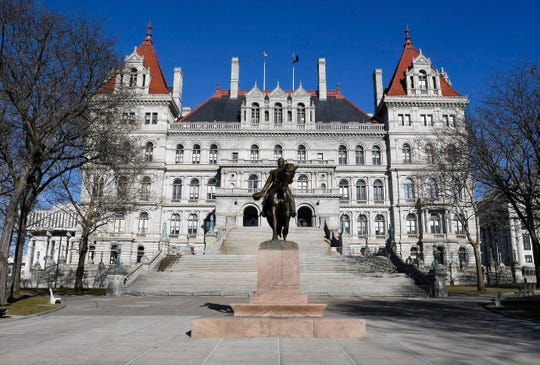 This photo shows an exterior view of the New York state Capitol Monday, April 1, 2019, in Albany, N.Y.