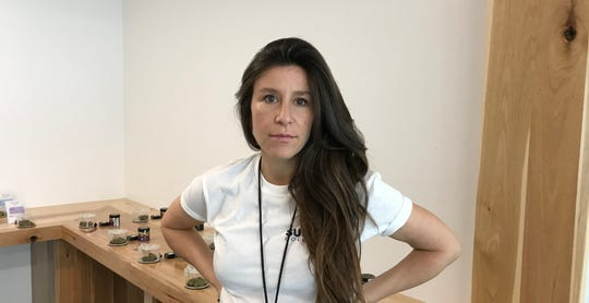 Ashley Papazian, co-owner of Sundial Collective, LLC, in the cannabis store that opened in mid-March. It's the second licensed pot retailer to open in Redding.