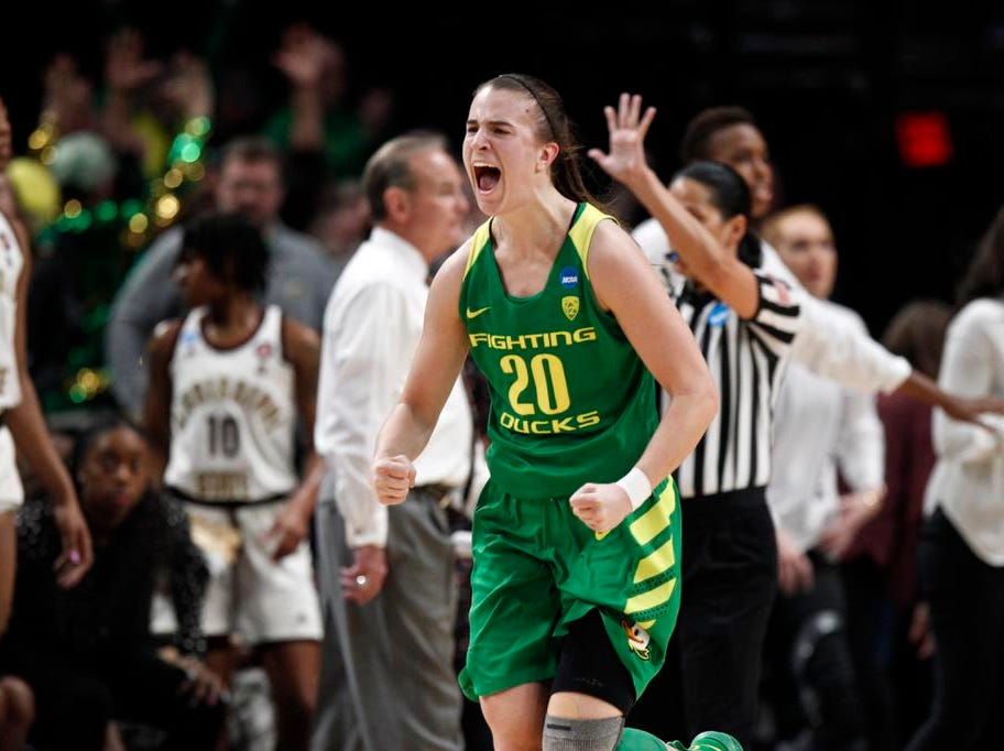 Oregon guard Sabrina Ionescu, reacts to a basket against Mississippi State during the second half of a regional final in the NCAA women's college basketball tournament Sunday, March 31, 2019, in Portland, Ore. Oregon defeated Mississippi State 88-84. (AP Photo/Steve Dipaola)