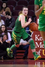 FILE - In this Jan. 11, 2019, file photo, Oregon's Sabrina Ionescu dribbles the ball during the first half of an NCAA college basketball game against Southern California, in Los Angeles. Ionescu, who rewrote the NCAA record book for triple-doubles and helped the Ducks reach the Final Four for the first time, was selected to The Associated Press women's All-America first team, Monday, April 1, 2019.