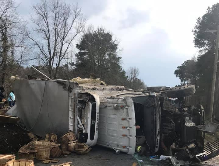 A truck carrying bushels of crabs overturned on Hopeton Road in Accomack County, VIrginia on Saturday, March 30, 2019.
