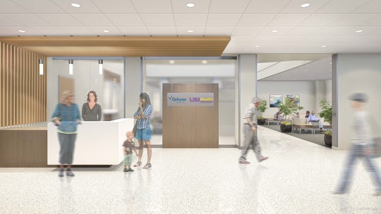 Rendering of the reception area at the new Ochsner LSU Health Shreveport healthcare campus.