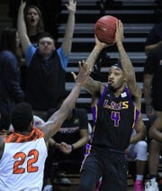 LSUS's Jeff Guard drives in a game earlier this season. He was named the NABC National Player of the Year on Monday.