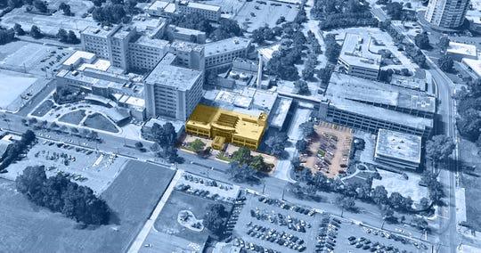 Rendering and aerial view of initial building and parking lot to be occupied by the new Ochsner LSU Health Shreveport healthcare campus.