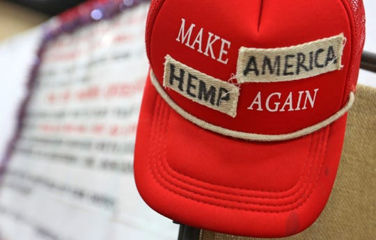 "In this June 14, 2018, photo a ""Make America Great Again"" hat has been altered and put on display at the Texas Hemp Industries Association booth at the 2018 Texas GOP Convention in San Antonio."