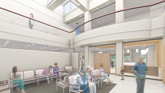 Rendering of the waiting room at the new Ochsner LSU Health Shreveport healthcare campus.