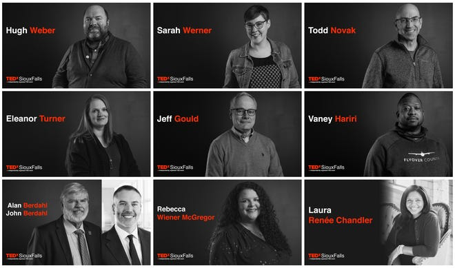 The nine-speaker lineup for TEDx Sioux Falls, scheduled for April 11. Tickets for the event are sold out.