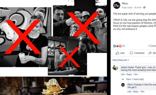 A screenshot of the PAve April Fool's Day post on Facebook, in which the downtown bar swears off alcohol and promises to focus on nachos.