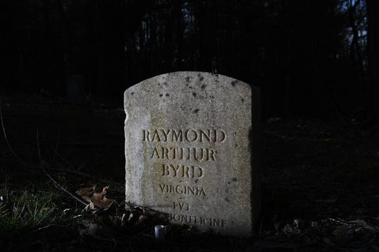 The headstone of Raymond Byrd is seen at the Murphyville Cemetery in Wythe County, Virginia. Byrd was lynched in 1926. His body was hung in a tree not far from St. Paul Lutheran Church.