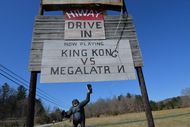 Mark Cline's latest art installation was at the old Hiway Drive In in Craigsville. His yearly April Fools' Day joke placed King Kong and Megalatron fighting it out. He's been doing these types of art jokes since 2001.