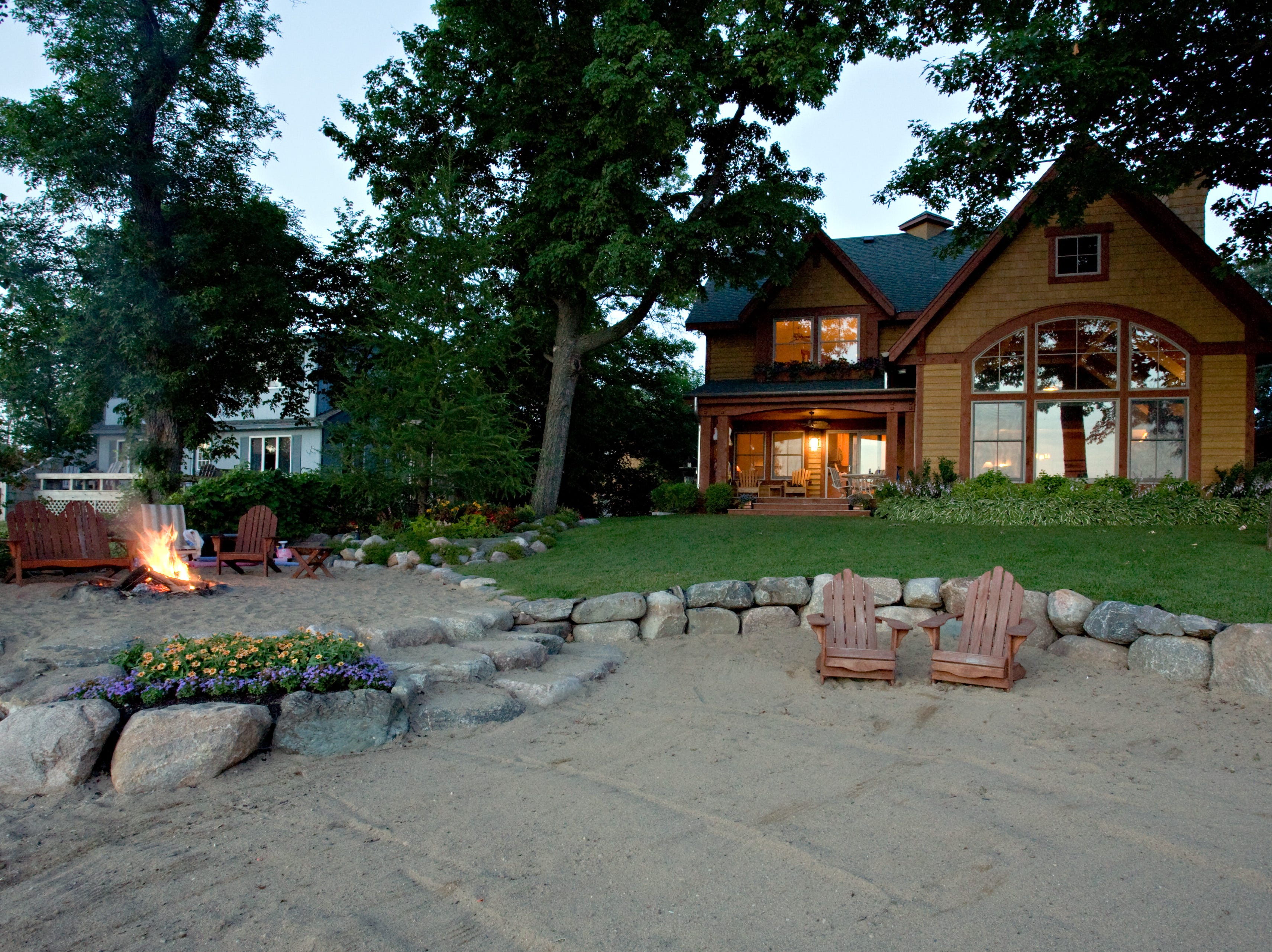 The wide sandy beach is ideal for taking advantage of the water and the fire pit area is like its own private escape.