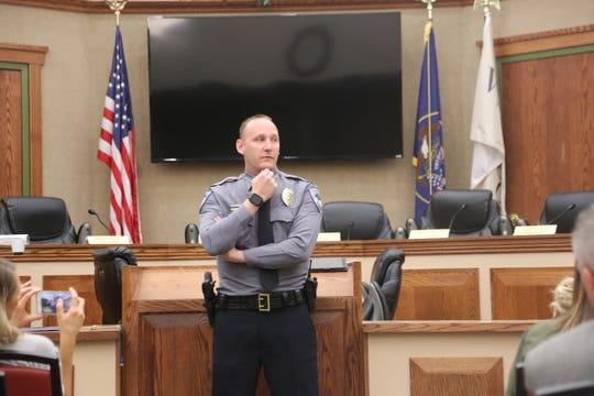 Washington City Police Chief Jason Williams addresses a crowd Monday.