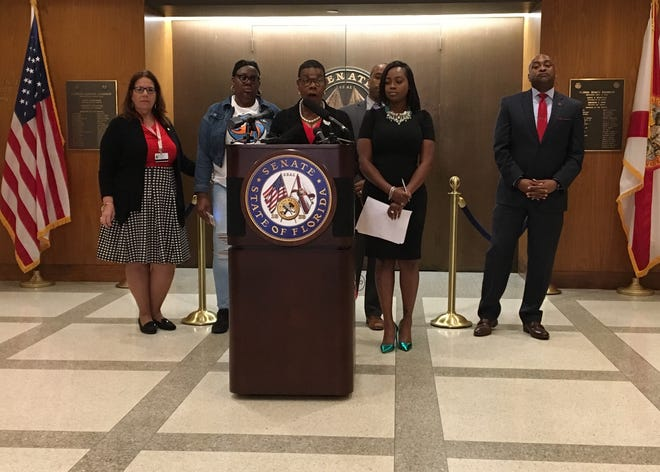 At a press conference April 1, 2019, Sen. Gibson talks about the importance of mobilizing Census count efforts to reach hard-to-count communities, such as young children and undocumented people.