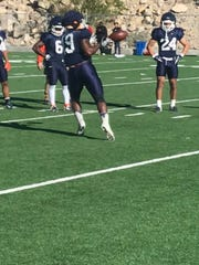 Trayvon Hughes catches a pass at UTEP spring practice Monday, April 1, 2019.