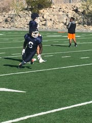 Josh Fields is shown at UTEP spring practice Monday, April 1, 2019.