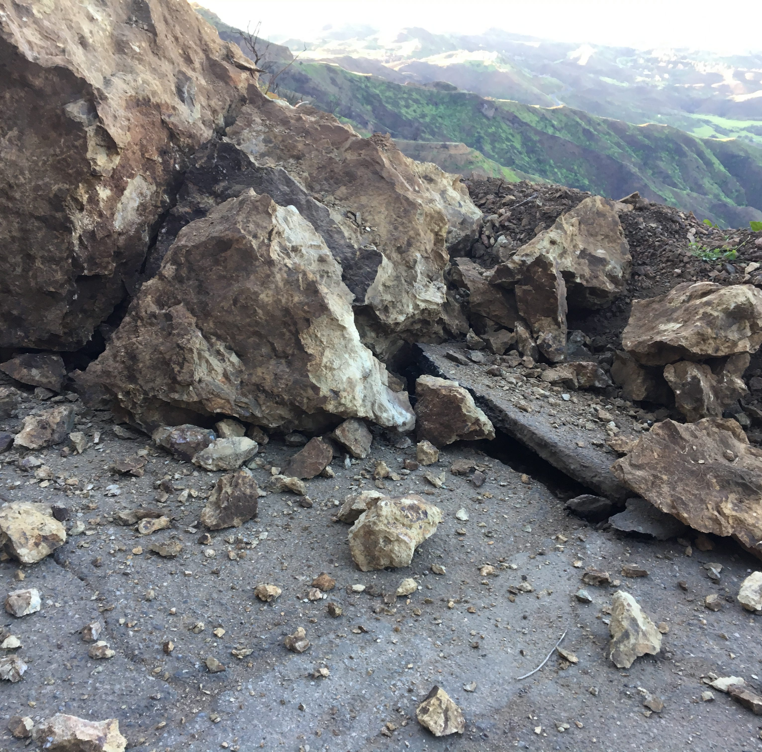 Sinkhole, rockslide close a road winding through Santa Monica Mountains