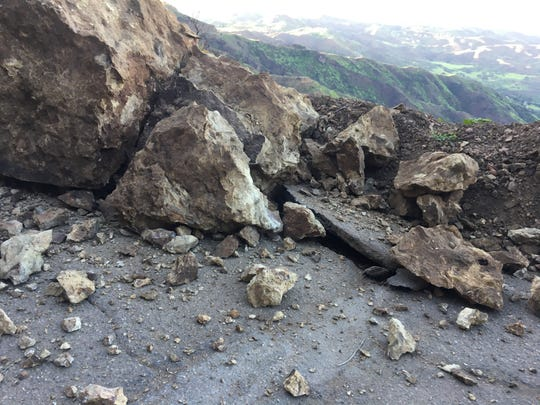 A rockslide closed Yerba Buena Road in the Santa Monica Mountains on Sunday.