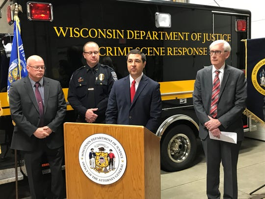Attorney General Josh Kaul speaks Monday at the Wisconsin State Crime Laboratory in Wausau about increasing funding to labs across the state.
