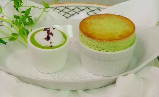 Spring Pea soup and souffle