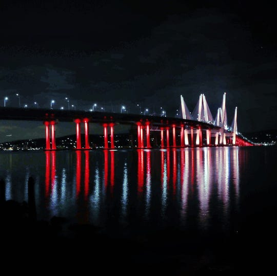 The Gov. Mario M. Cuomo bridge is decked out for the holidays -- in December 2018. The bridge was not lit for the 2019 holidays.