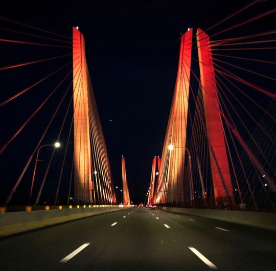 Orange was tonights color on the Mario M. Cuomo bridge June 12, 2018.