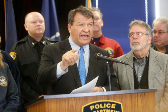 Westchester County Executive George Latimer held a press conference Thursday at the Yorktown Police Department on the nor?easter storms and power outages in Westchester. Ricky Flores/The Journal News Westchester County Executive George Latimer held a press conference at the Yorktown Police Department on the nor'easter storms and power outages in Westchester on March 8, 2018.