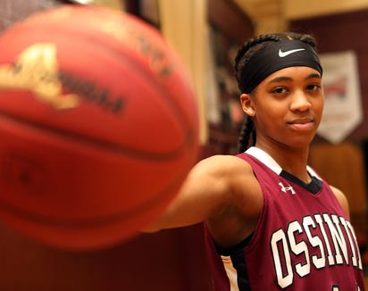 Aubrey Griffin, who is the Journal News/lohud Westchester/Putnam girls basketball player of the year was photographed at Ossining High School on March 29, 2019.