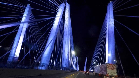 Lights on the Mario Cuomo Bridge Sept. 6, 2018.