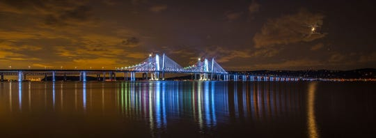 A demonstration of the dynamic lighting package on the Gov. Mario M. Cuomo Bridge on Aug. 25, 2017