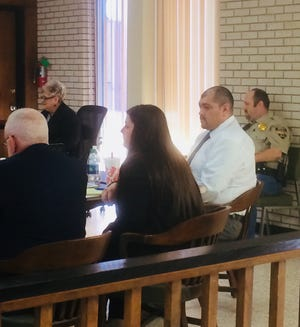 In this file photo, David Ybarra Jr., wearing a white shirt, sits at the end of the defense counsel's table in Seymour. Others, from left, are attorneys Earl Griffin and Sage Seal and Bryan Vest, sheriff's deputy. Seated near the bench is Linda Conner, court administrator. Ybarra was found guilty Thursday of murder, assault and kidnapping stemming from events that happened February 2018 in Paducah.