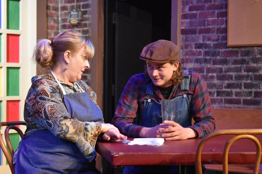 """Mollie Winland and Hunter Lepi in a scene from """"O'Donnell's Pub,"""" which opens at 8 p.m. Friday, at the Zanesville Community Theatre."""