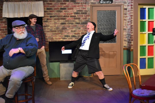 "Jan Smith, Hunter Lepi and Eric Blake rehearse a scene from ""O'Donnell's Pub."""