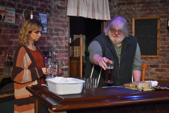 "Reanna Warne and Bob Skidmore in a scene from ""O'Donnell's Pub"" playing the next two weekends at the Zanesville Community Theatre. The play was written by Zanesville native Christopher Brooks."