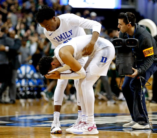 Duke guard Tre Jones reacts after losing to the Michigan State in the East Regional championship game of the 2019 NCAA tournament.