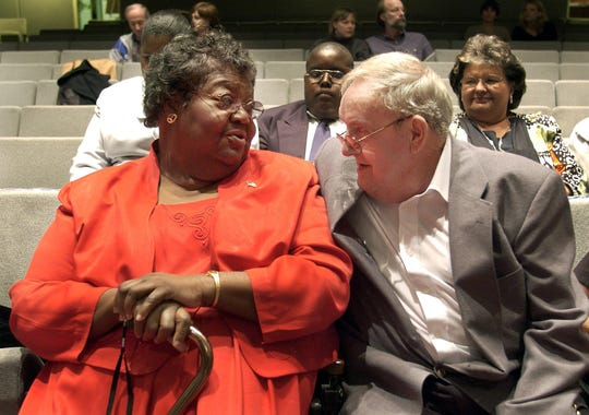 The real Ann Atwater, left, and C.P. Ellis, photographed together in 2001.