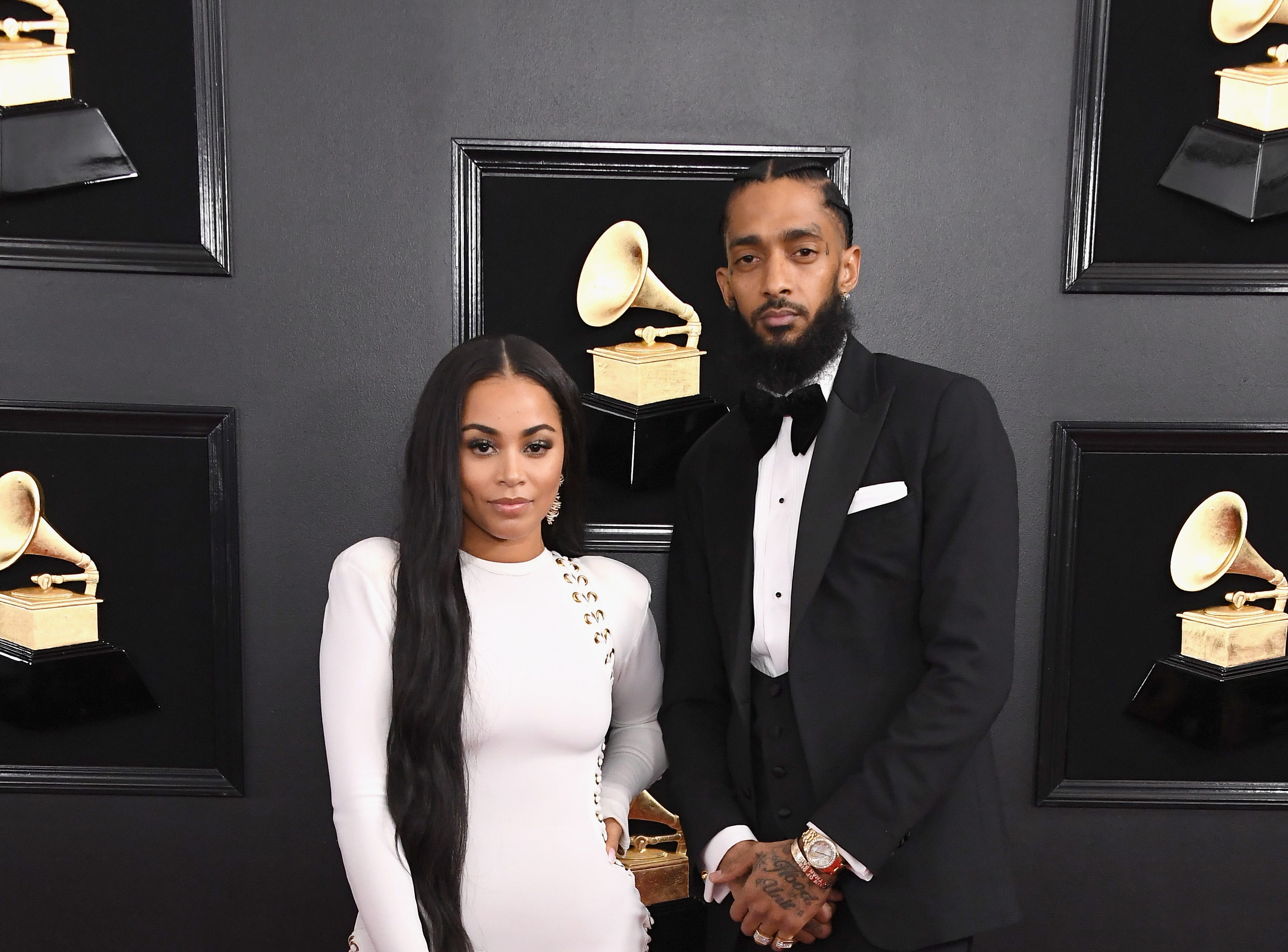 Lauren London and Nipsey Hussle attend the 61st Annual GRAMMY Awards at Staples Center on Feb. 10, 2019, in Los Angeles.