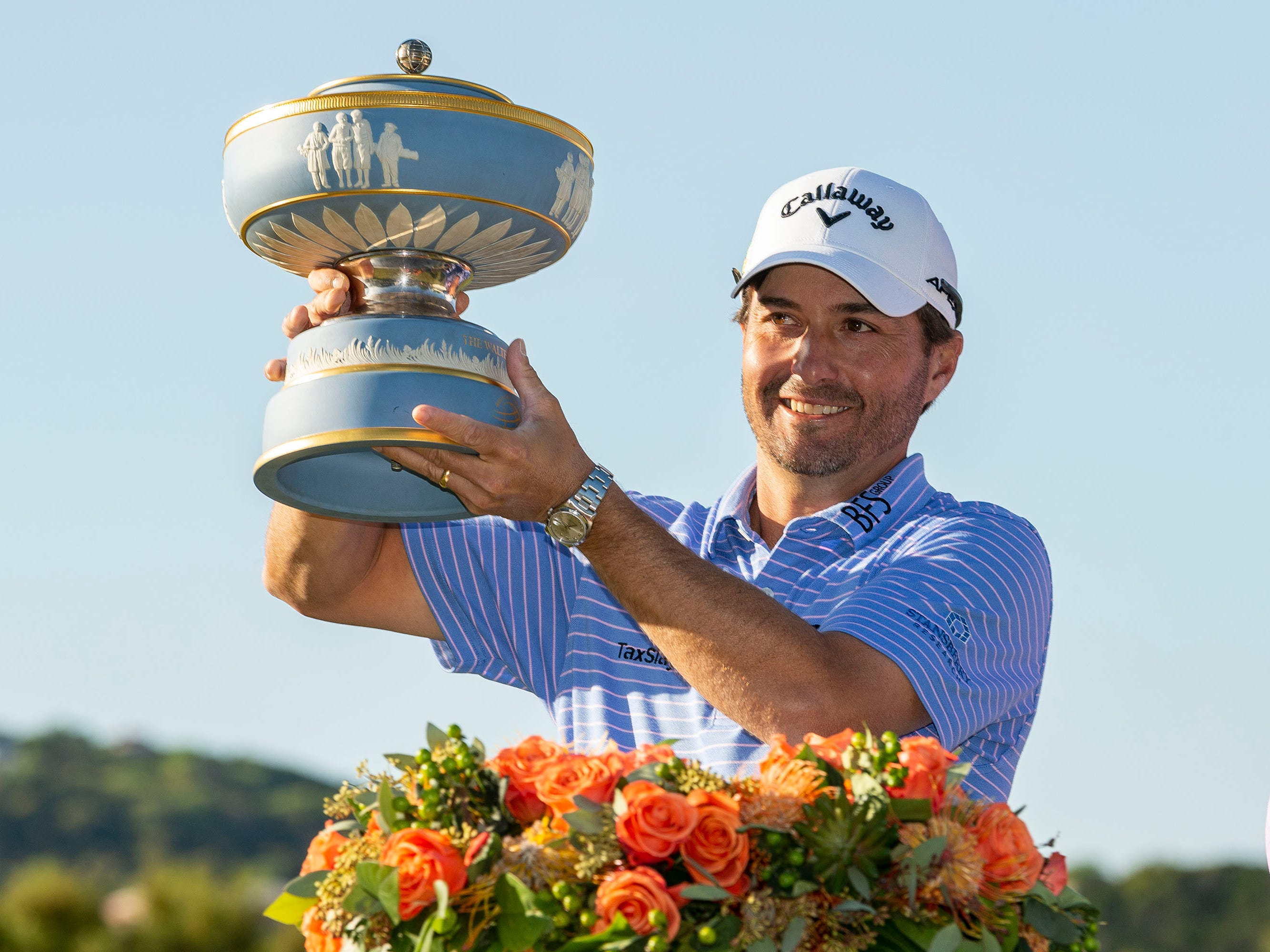 March 31: Kevin Kisner celebrates after winning the final round of the WGC - Dell Technologies Match Play tournament at Austin Country Club.