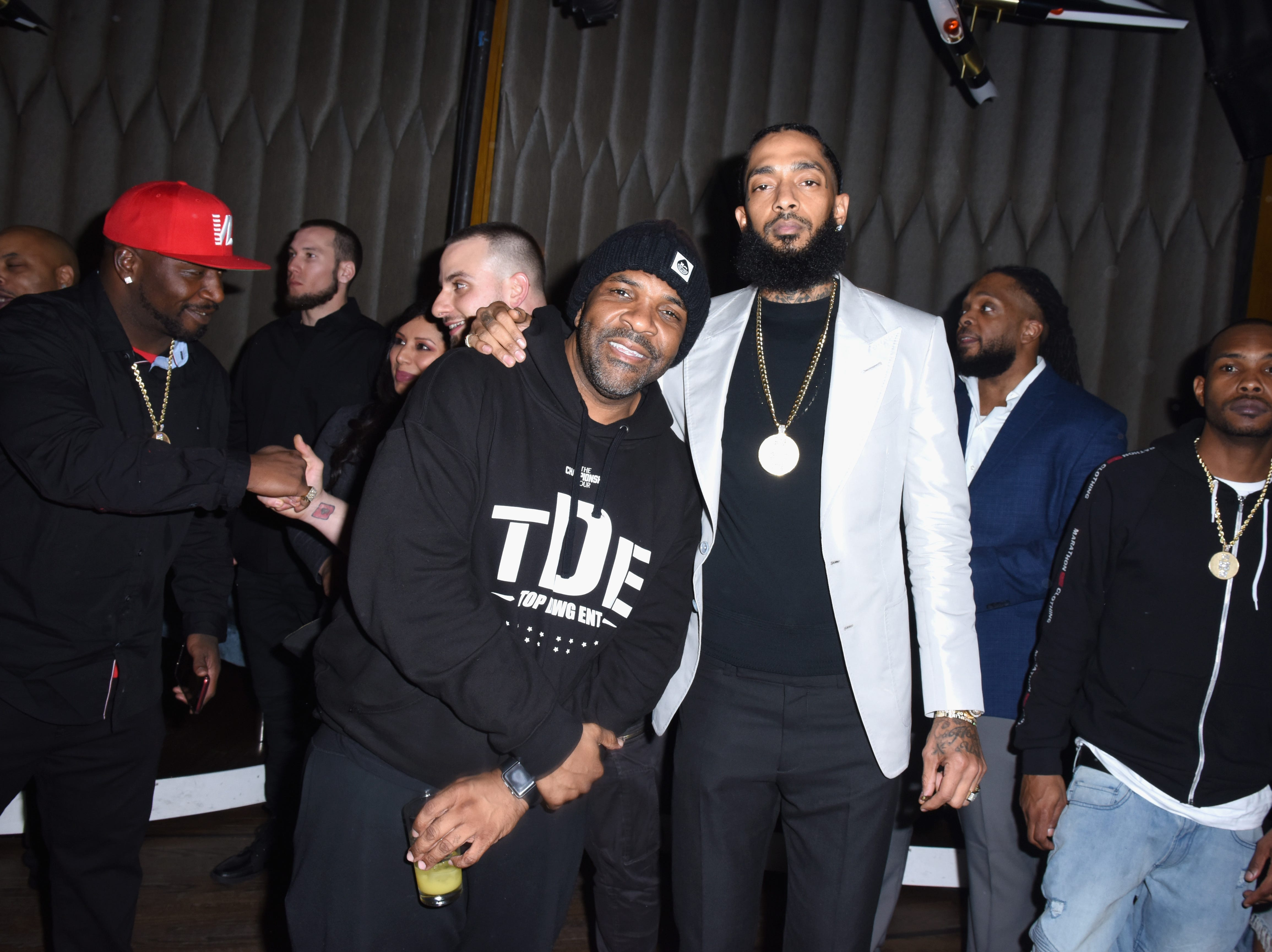 Nipsey Hussle, right, attends the PUMA x Nipsey Hussle 2019 Grammy Nomination Party at The Peppermint Club on Jan. 16, 2019, in Los Angeles.