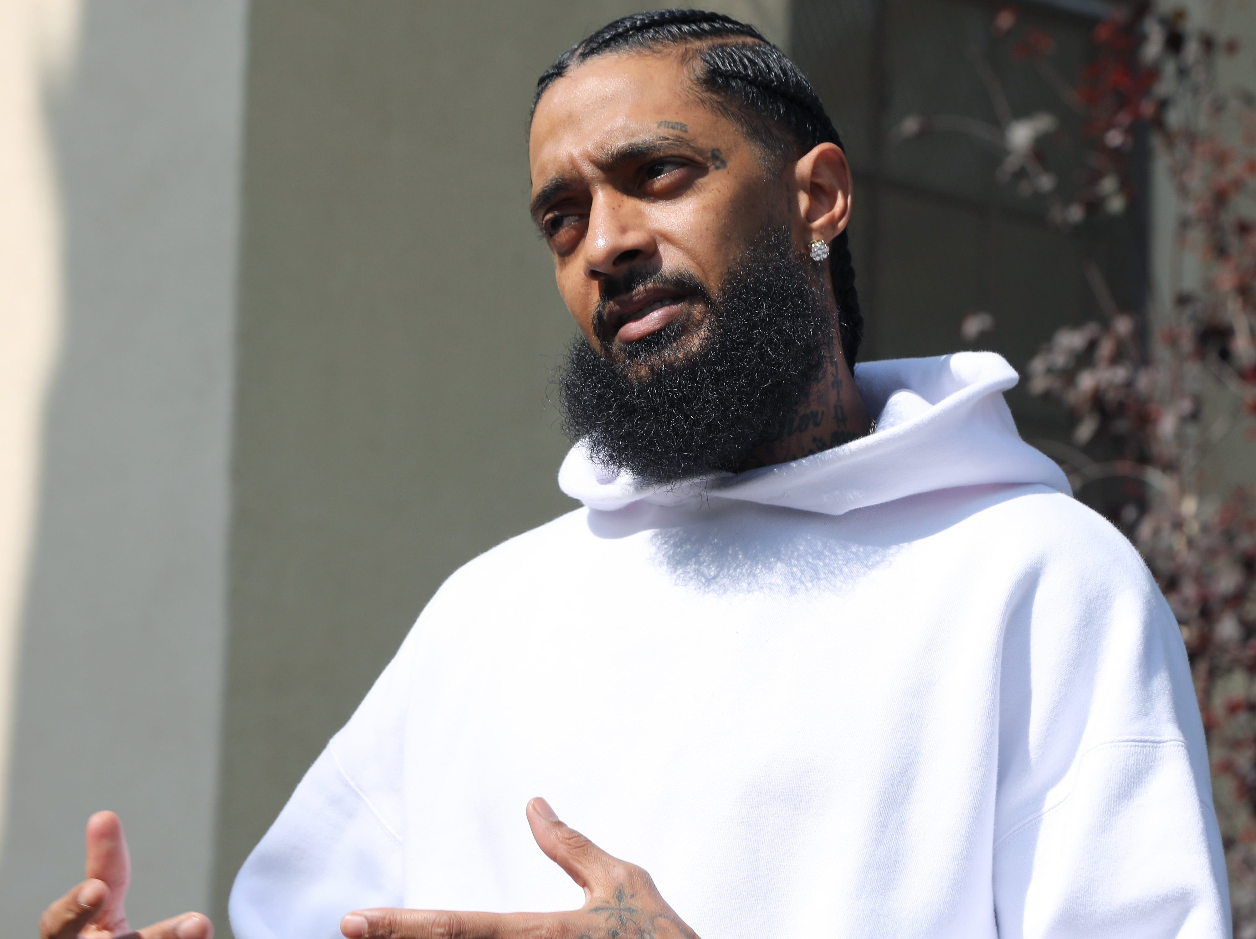 Nipsey Hussle attends Nipsey Hussle x PUMA Hoops Basketball Court Refurbishment Reveal Event on Oct. 22, 2018, in Los Angeles.