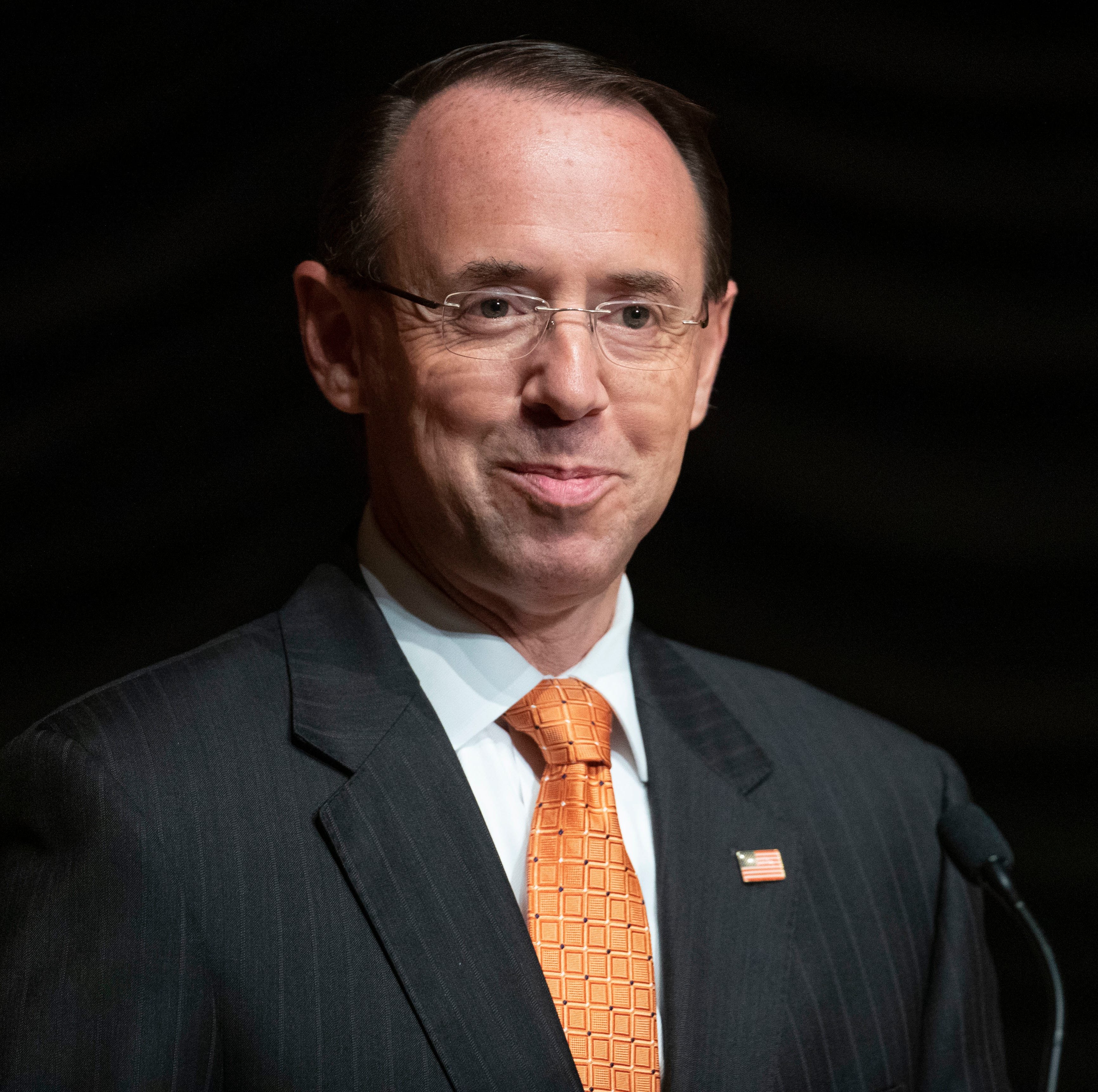 Deputy Attorney General Rod Rosenstein pauses while speaking Oct. 17, 2018, at the federal inspector general community's 21st annual awards ceremony, in Washington.