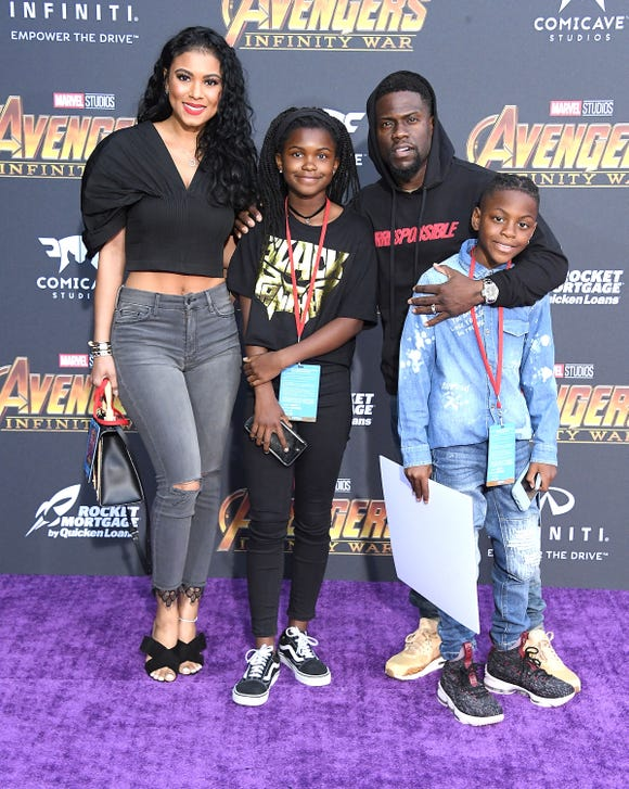 "Eniko Parrish, left, Heaven Hart, Kevin Hart, and Hendrix Hart at the premiere of ""Avengers: Infinity War"" last April."