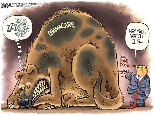 Trump pokes Obamacare