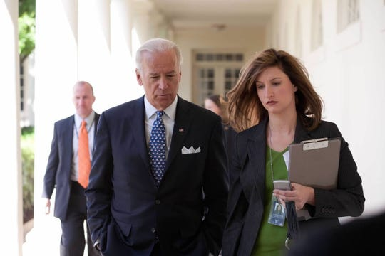 Vice President Joe Biden and press secretary Elizabeth Alexander at the White House on April 28, 2010.